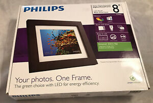 "Philips LED 8""inch Digital Photo Frame  Black wood frame"