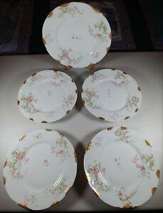 """Vtg Haviland LIMOGES ~9"""" DINNER PLATES (Set of 5) White w/Pink Roses FREE SHIP"""