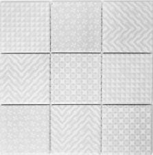 Fliesen Mosaik Mosaikfliesen Keramik Wand Küche Bad WC grau Muster 5mm  #364
