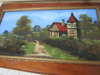 REVERSE PAINTING ON GLASS VERRE EGLISE COTTAGE  ILLEGIBLE TITLE