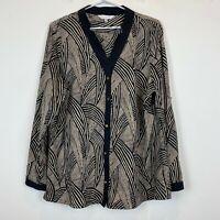 Grace Hill Womens Black/Beige Striped Long Sleeve Blouse Size 18