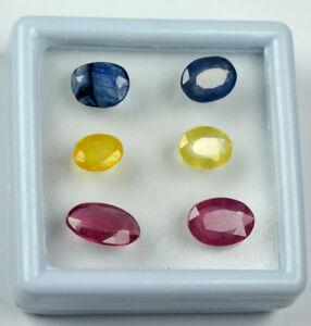 Natural Oval 12.65 Ct/6Pcs Yellow, Blue Sapphire & Ruby Gems Lot Certified E6084