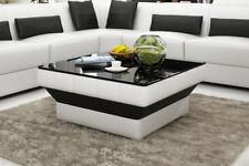 Design Glastisch Leder Couch Tisch Tische Glas Sofa Wohnzimmertische  CT9008w