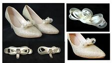 Ivory diamante and pearl bridal or bridesmade shoe clips