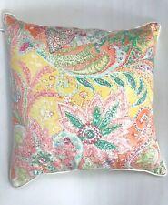 Ralph Lauren Jamaica Paisley Coral Throw Pillow Bedding Corded Zipper