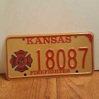 Kansas Firefighter License Plate - New Never Used  - # 18087