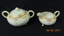NIPPON FINE CHINA HAND PAINTED CREAMER AND SUGAR BOWL WITH LID FLOWER GOLD TRIM