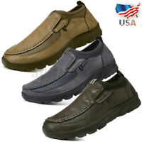 US Men Casual Moccasins Driving Shoes Casual Leather Outdoor Breathable