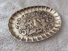 VINTAGE SILVER PLATED OVAL PIN DISH WITH TROPICAL BIRD DESIGN - MENESES, SPAIN
