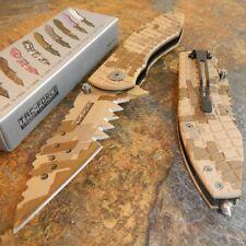 TAC-FORCE DESERT CAMO JAGGED Tactical Rescue SPRING ASSIST Folding Pocket Knife!