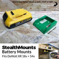 2x GREEN Battery Mounts for DeWalt 18v XR 54v FlexVolt Li Ion Batteries Holder
