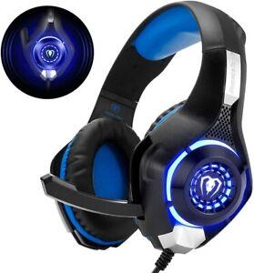 Beexcellent Gaming Headset Kopfhörer Mikrofon für PS5 PS4 PC Xbox One LED Licht