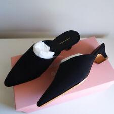 BN MANSUR GAVRIEL grosgrain elegant slide black fabric mules kitten heels 37.5