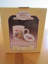 Mug Gift Coffee Tea with Coaster 10 oz Cup Stoneware Featuring Fruit in a Basket
