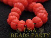 5pcs 10x7mm Lampwork Glass Flat Pumpkin Shape Charms Handmade Loose Beads Red