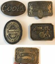 5 Vintage Advertising Brass Belt Buckles COORS~HEINEKEN~SNAP-ON TOOLS~SMUCKER'S