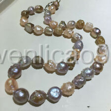 """18"""" new White Pink Purple 11-13mm reborn keshi baroque Pearl Necklace"""