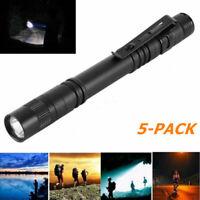 5PCS CR XPE-R3 LED Flashlight Clip Mini Light Penlight Portable Pen Torch Lamp
