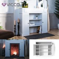 VICCO Kaminumrandung im Landhaus-Stil mit Tür Kaminkonsole 119,5 x 103 cm Weiß