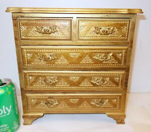 VTG ITALY Florence  GILT Carved WOOD JEWELRY CHEST BOX Rococo Renaissance