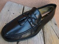 SANTONI Mens Dress Shoes Soft Black Leather Casual Italian Tassel Loafer Size 8D