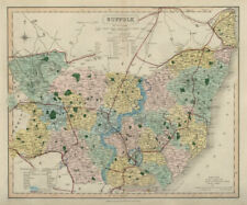 Suffolk antique county map by J & C Walker. Railways & boroughs 1868 old