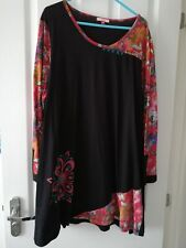 Joe Browns Black / Red Long Sleeve Long Tunic Top Size 22