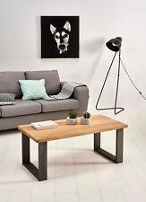 Hogar24-Mesa de centro salón comedor madera maciza natural y patas de acero.