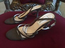 INNOVARE BROWN FABRIC UPPER & LEATHER SOLE STILETTOS SIZE 40.5 MADE IN ITALY