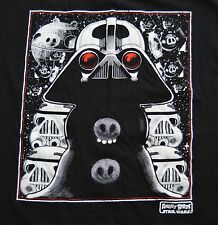 Angry Birds Star Wars Large Black T Shirt Mash Up Pigs Jedi Darth Vader Space