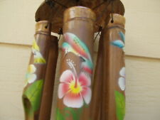 Painted Hummingbird and Flowers Half Coconut Top Bamboo Wind Chimes Free Ship