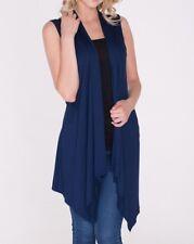 New Women's Open Front Long Tunic Vest Top Draped Cardigan SML/Plus Size 2XL 3XL