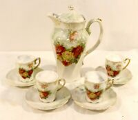 Vintage Imperial Germany Chocolate Pot Set Tea Set Red Roses German Pottery