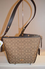 NWT Coach 25697 Signature Jacquard Dufflette Crossbody Khaki Brown