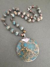 Vintage Silver Pearl Smoky Quartz Jasper Necklace JGO