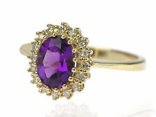 585 Jaune Or 2,0 ct fabuleux Amethyst 0,16 Ct Diamant Brillant Femmes Bague
