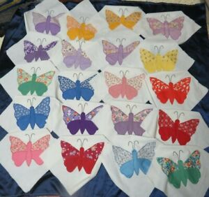 20 Vintage Quilt Blocks - Hand Appliqued BUTTERFLIES Butterfly Feed Sack Calico