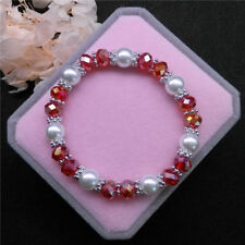 Wholesale Fashion Jewelry 8mm Pearl 8mm Crystal Beads Stretch Bracelet FR12
