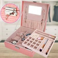 Large Jewelry Accessories Box Leather Earring Watches Necklace Storage Organizer