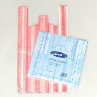 "100 x Quality NEW Medium CANDY STRIPE Plastic Vest Carrier Bags 10""x15""x18"""