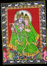 Indian God Radha Krishna Painting Sequin Work Religious Batik Wall Hanging Small