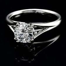 Solitaire Certified 0.70 Carat Round Cut Diamond Engagement Ring White Gold