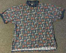 Vtg 90s Tabasco Polo Shirt XXL Sport Hot Sauce Crab Shrimp Golf Nautical Fish