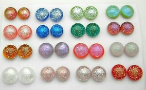 FOR POST EARRINGS TINY Lot 32 pcs round gorgeous DICHROIC FUSED GLASS (B23) CAB