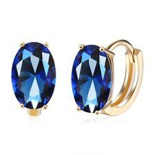Women's Earring 18K Gold Filled Blue Zircon Shine Ear Clip Fashion New 2017