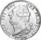 O521 RARE Constitution écu de 6 livres FRANÇOIS 1792 B Rouen 2eme Sem. Argent