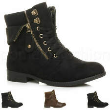 WOMENS LADIES LACE UP KNITTED CUFF COLLAR FUR LINED MILITARY BIKER ANKLE BOOTS