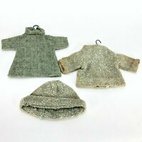 TRUE Vintage MOD Doll Clothing Coat Jacket Hat & Hangers w Hat Green Toy Clothes