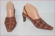 CLARISSA BELMONTE Open Court Shoes Leather Braided Brown T 36