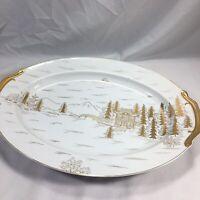 Kutani China Japan Japanese Hand Painted Gold Village Large Serving Platter